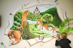 3D-muurschilderingen in UZ Brussel om de stress van gehospitaliseerde kinderen te verlichten